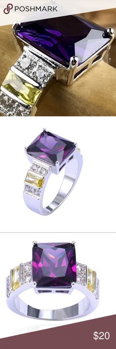 NWT VIBRANT PURPLE COCKTAIL RING Deep purple Austrian Crystal stone with Canary Stones set on each side of the band along with Cubic Zircon stones set in the band. Band is white gold plated. Stunning ring! Jewelry Rings