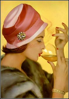 Rose Marie in hat by Jean Barthet, jewelry by Van Cleef & Arpels, photo by Philippe Pottier, 1958
