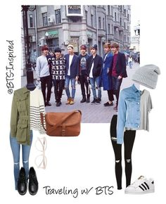"""Traveling w/ BTS"" by bts-inspired ❤ liked on Polyvore featuring Topshop, adidas, MANGO, Yves Saint Laurent, Chicnova Fashion, Acne Studios, Accessorize and Derek Lam"