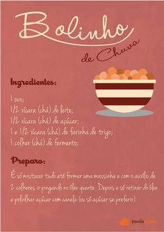 Poster Receita de Bolinho de Chuva - Panelaterapia TO8341 Candy Cakes, Cupcake Cakes, Great Harvest Bread, Lemon Coconut Bars, Fat Foods, Coffee Break, Sweet Recipes, I Am Awesome, Food Porn