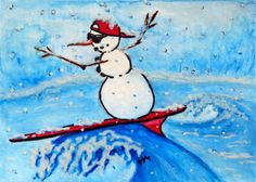 Original-ACEO-Watercolor-Painting-SURFING-SNOWMAN-Christmas-Winter-Holiday-MM