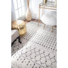 nuLOOM Geometric Moroccan Beads Grey Rug (10' x 14') | Overstock.com Shopping - The Best Deals on 7x9 - 10x14 Rugs