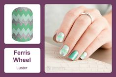 With a lighter than air feel, mint hues and silver sparkle chevron will put you in the mood to reach for the clouds! #bevsjamminnails https://bkimball.jamberry.com/us/en/shop/products/ferris-wheel#.Vxe-UvkrJQI
