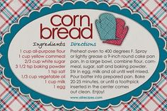 LO recipe card I always made the corn bread growing up. I have our family cornbread recipe memorized. I need to document it for future generations. So many of my grandma recipes were never written down.