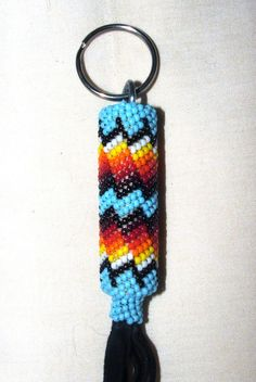 "Beaded Keyring Native American Made Peyote Stitch on Black leather 8"" CE-3"