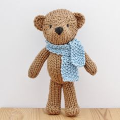 "Theodore is a classically styled teddy bear with a twist-- he's knitted out of super chunky yarn, making him an unbelievably quick yet substantial project. Cascade's Lana Grande is my first choice for Theodore because it is soft, comes in beautiful colors, and wears very well, which is perfect for a toy that's going to get lots of cuddles. Lion Brand Wool-Ease Thick and Quick is an acceptable and cheaper substitute. The finished bear is about 11"" tall and uses under one skein of yarn."