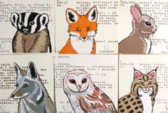 Any 4 Woodland Animal Prints - Fawn, Badger, Fox, Barn Owl, Great Horned Owl, Bobcat, Rabbit or Coyote - Prints of painted library cards. $30.00, via Etsy.