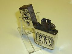 VINTAGE ANTIQUE 900 SILVER CASE & ZIPPO INLAY PETROL LIGHTER WW2 - 1950 RARE Collectables:Tobacciana & Smoking Supplies:Lighters:Other Lighters