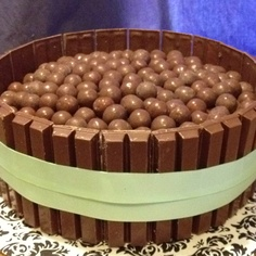 Whopper cake with Kit Kats.