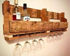Pallet Table Plans Wood Wine Rack Pallet wine rack Wine rack by TinHatDesigns Wine Shelves, Wine Storage, Pallet Ideas, Bar Outdoor, Rustic Wine Racks, Pallet Wine, Wine Rack Wall, Wood Rack, Wine Glass Holder