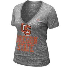 Nike Oregon State Beavers Ladies Ash History Burnout Premium V-neck T-shirt
