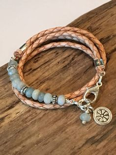 Wrap Bracelet Natural Braided Leather and Gemstones Raw