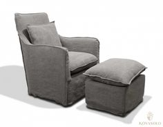 New Amsterdam lenestol med puff (Stonewashed grå) New Amsterdam, Recliner, Armchair, Lounge, Furniture, Home Decor, Chair, Sofa Chair, Airport Lounge