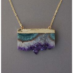 Double Connected Gold Amethyst Stalactite Slice Necklace ($50)