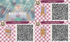 """pollochan: """" Frosty winter paths to decorate your town! You can find fall and spring versions here as well as all of my other animal crossing designs. ♥ Enjoy """""""