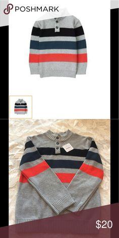 Boy's Striped Sweater💕 %100 cotton knit, half button placket, intarsia knit stripe, Ribbed trim. Gymboree Shirts & Tops Sweatshirts & Hoodies