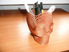 Wireframe+Skull+Pencil+Holder+(For+The+Love+of+Dog)+by+marbla59.+Based+on+a+design+by+philnelson.