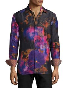 Limited Edition Tie-Dye Floral Sport Shirt, Multi Colors by Robert Graham at Neiman Marcus.