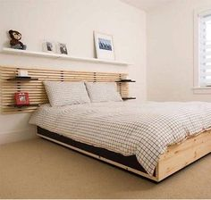 Home Design and Decor , Spacious Wall Mounted Headboards : Wooden Wall Mounted Wall Mounted Headboards With Shelves Wall Mounted Headboards, Headboard With Shelves, Bed Frame With Storage, Headboards For Beds, Wooden Headboards, Ikea Mandal Bed, Ikea Mandal Headboard, Bed Headboard Wood, Wood Bedroom