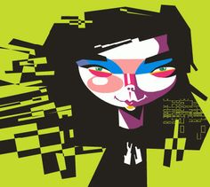 Bjork by Pablo Lobato...who has become my favorite caricaturist. Such fantastic shapes.