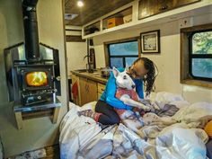 This wood stove looks amazing!! What a cool way to heat the van in winter. I love the fact that wood uses a dry heat. What a cool #vanlife tip!