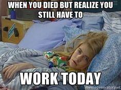 Sad meme about being sick at work.