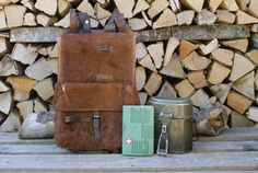 🇨🇭A 1941 vintage Swiss Army animal hide backpack, with a food canister (dated and a Swiss Army `Soldaten Buch`. The whole set comes from one owner and is in excellent condition. Curial Swiss Army on Etsy Swiss Army Backpack, Food Canisters, Vintage Backpacks, Leather Conditioner, Swiss Switzerland, Animal, Alps, Biking, Ww2