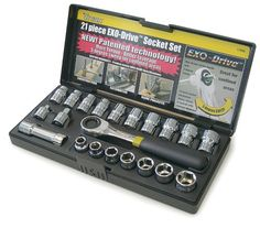 Titan 17400 21-Piece EXO-Drive SAE & Metric Socket Set Slim design ratchet handle with 5 degree sweep & 72 tooth ratchet mechanism. Chrome vanadium steel, fully polished and chrome plated. Slim head ratchet handle. 3 EXO-Drive Extension. 1/4 & 3/8 drive quick-release conventional adaptors.  #Titan #Home_Improvement
