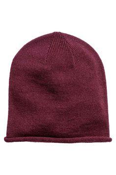 Knitted hat - Plum - Ladies | H&M GB 1
