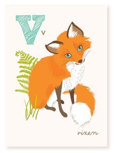 V is for Vixen ABC wall art nursery wall art by SeaUrchinStudio