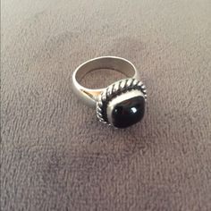 """Black Onyx & Sterling Silver Ring A bold squared genuine onyx stone mounted in a Sterling silver ring. The band is .25"""" wide, the onyx is 10mm wide. The markings are: Sterling Silver, El Tom. Weight is 9.6 g El Tom Jewelry Rings"""