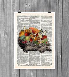 Hedgehog Collage Digital Print. No.CODE 022 by SaturnPrint on Etsy