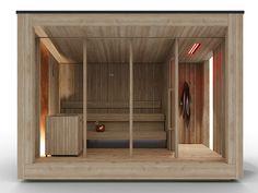 Outdoor sauna NatureSauna By STARPOOL design aledolci&co Saunas, Design Sauna, Wooden Scaffolding, Outdoor Sauna, Floor Slab, Wood Structure, Deep Relaxation, Co Design, Building Materials