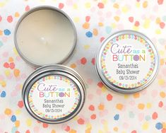 Its a little bigger, but as cute as a button. This Cute as a Button Personalized Travel Candle Tin makes a perfect favor for your gender reveal party. Baby Shower Candle Favors, Personalized Baby Shower Favors, Baby Shower Party Favors, Wedding Party Favors, Baby Shower Parties, Baby Shower Gifts, Personalized Candy, Tin Candles, Candle Set