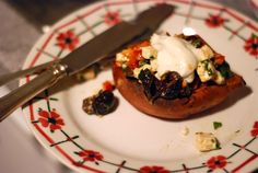 Roasted Sweet Potatoes with Spicy Feta-Olive Salad - SO GOOD. Tangy, healthy, easy. Would happily serve for guests, seems impossible to mess up.