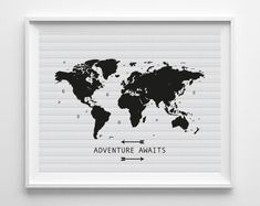 World map black print black map black map of the world wall art printable world map art print adventure awaits inspirational quote poster digital instant download gumiabroncs Choice Image