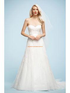 A-linie Lange Glamouröse Brautkleider aus Softnetz mit Applikation