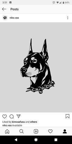 Basic Tattoos, Dog Tattoos, Black Tattoos, Sketch Tattoo Design, Tattoo Sketches, Cartoon Drawings, Animal Drawings, Dobermann Tattoo, Drawing Stencils