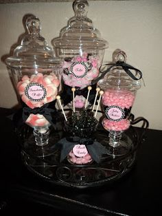 This weekend I got to do 2 candy buffets,  and they were both pink and black color schemes!    The first was a light pink and black buffet f...