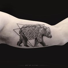 black bear with geometric tattoo idea