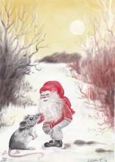 Original art: Gnome and mouse. Christmas by ArtLisbethThygesen