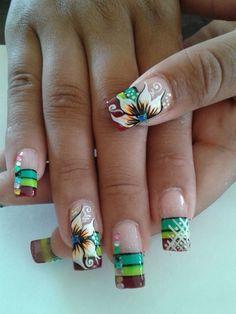 Creative Nail Designs, Diy Nail Designs, Beautiful Nail Designs, Creative Nails, Creative Makeup, Coffen Nails, Hot Nails, Hair And Nails, Acrylic Nails