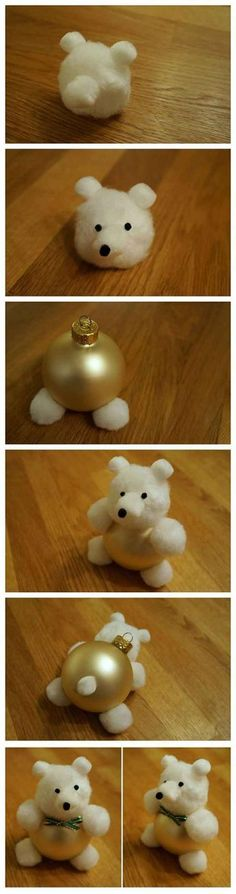 Cotton Ball Teddy Bear Ornament (50 easy and cute ways to decorate for Christmas:)