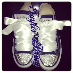 Custom Women Converse Denim Blue with Swarovski
