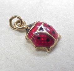Vintage 14k Gold Charm ~ Red Enamel Lady Bug..