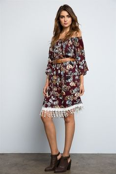 What can I say about this love besides amazing? This dress screams floppy hat, chunky belt, booties and of course your local music fest. The length is perfect and the sleeves are boho bell style and incredible. Wear it without a belt to keep it loose and flowy or with a belt for structure and fit.100% rayon. Fits true to size. | Shop this product here: http://spreesy.com/stylerevivalmkt/2 | Shop all of our products at http://spreesy.com/stylerevivalmkt    | Pinterest selling powered by…