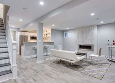 Turning an unfinished basement into extra living space? Learn what to do when finishing basement walls to achieve quality, comfortable conditions. Gray Basement, Basement Paint Colors, Basement Painting, Basement Living Rooms, Modern Basement, Basement Bathroom, Basement Layout, Basement Apartment Decor, Basement Gym