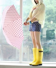 Rainy Day Cute Outfits with Yellow Rain Boots