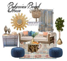 Bohemian Beach House by cknott on Polyvore featuring interior, interiors, interior design, home, home decor, interior decorating, Dot & Bo, Madison Park, Uttermost and Pier 1 Imports