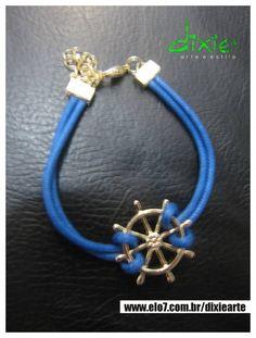 Pulseira Navy Pingente de Leme dourado Corão Azul R$ 20,00